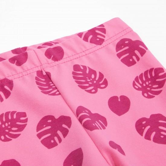 Legingi meitenēm ar rakstu, rozā