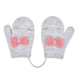 Mittens for girls with a bow