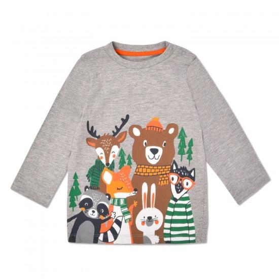 T-krekls zēnam Dzīvnieki pelēks