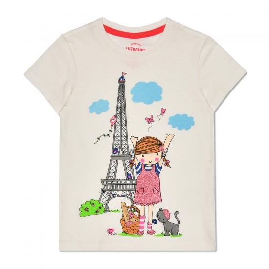 T-krekls meitenēm ar apdruku balta