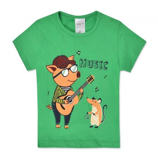 Krekls zēnam ar druku zaļš