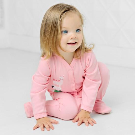 Kombinezons ar kājām Jautra Sēta ar attēlu, rozā
