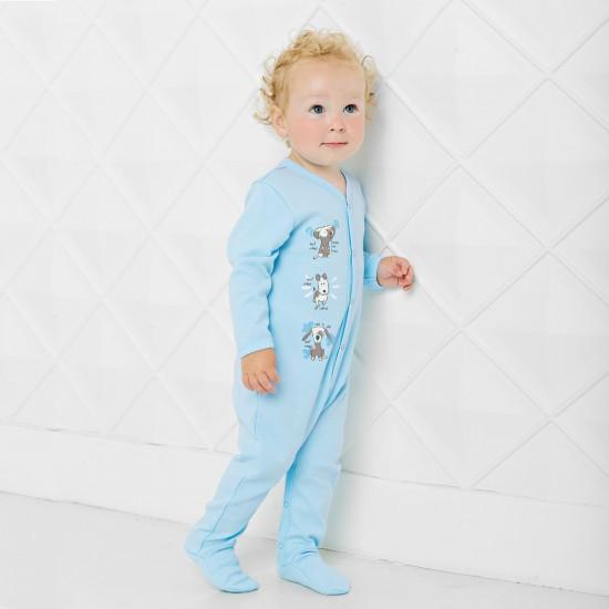 Kombinezons ar kājām Jautra Sēta ar attēlu, zils